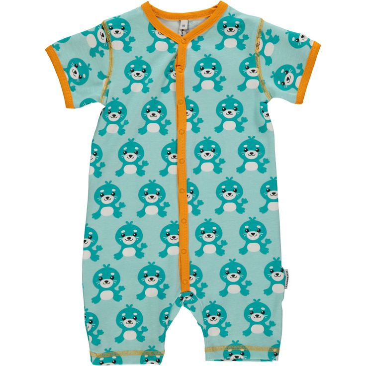 Seal rompersuit from Maxomorra, made from 100% Organic Cotton. Sweatshop free ethical and sustainable fashion. From Maxomorra, available at Modern Rascals.