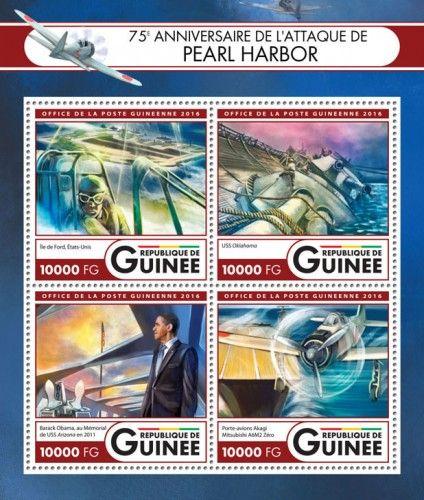 GU16415a 75th anniversary of the attack on Pearl Harbor (Ford Island, USA; USS Oklahoma; Barack Obama at the Memorial of USS Arizona in 2011; Aircraft carrier Akagi Mitsubishi A6M2 Zero)