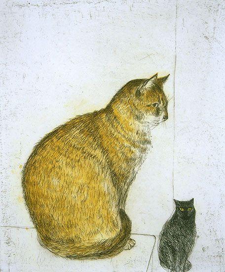 Abyssinian Cat by Dame Elizabeth Blackadder  koty,kocury