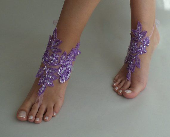 d0ef4dbe0aa4 8 Color Beach wedding barefoot sandals purple lilac lace shoes beach ...