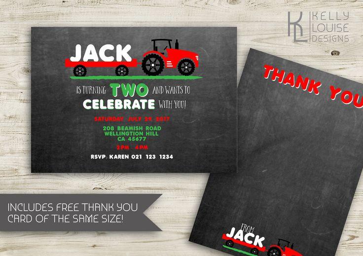 Tractor & Trailer Birthday Invitation | Farmyard Birthday Invitation | Tractor Invitation | Little Farmer Invitation | Farm Party (185) by kellylouisedesigns on Etsy