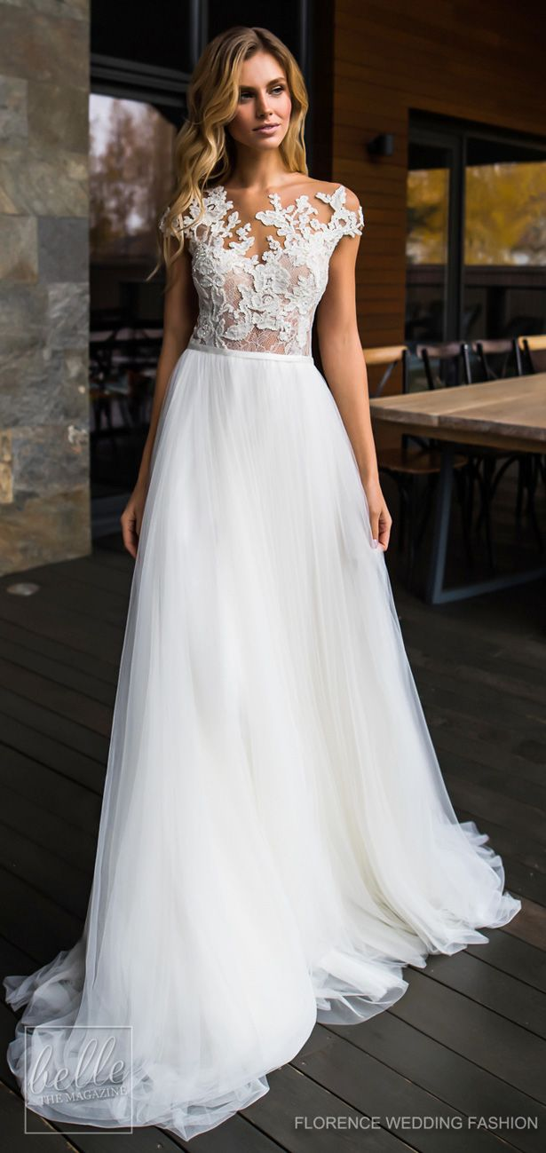 Wedding Dress By Florence Fashion 2019 Deito Bridal Collection Off The Shoulder Lace And Tulle Skirt Gown A Line