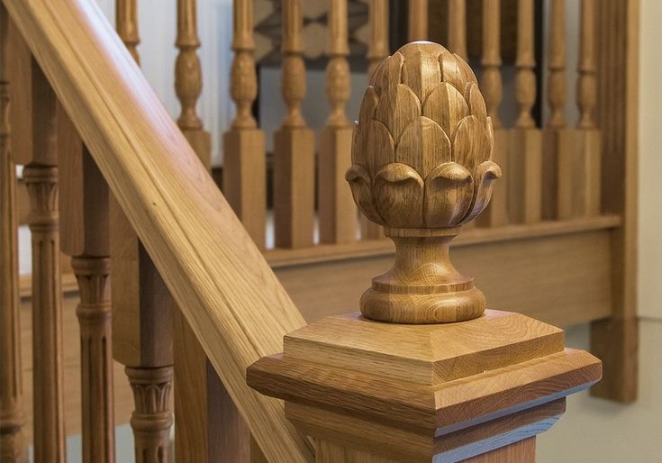 Best Hand Crafted Solid Oak Artichoke Cap Timber Staircase 400 x 300