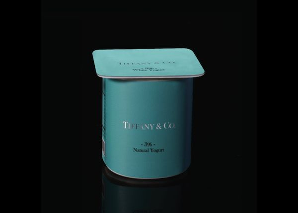 Tiffany & Co. Yogurt || Based in Israel, Paddy Mergui has come up with an intriguing series that explores what it would be like if luxury brands packaged and sold everyday groceries.