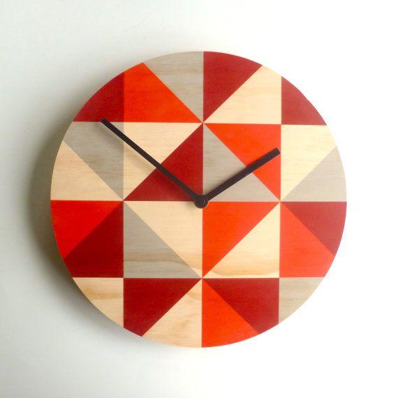 Objectify Grid Red Wall Clock - Medium Size