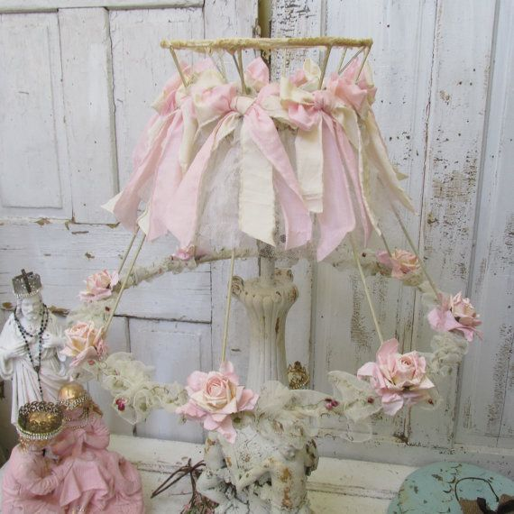 Pink shabby cottage lamp shade embellished handmade paper and linen roses tattered ruffles and muslin bows Anita Spero Design