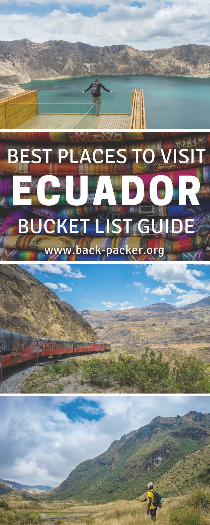 A bucket list worthy guide to exploring Ecuador. While most travelers are familiar with destinations such as the Galapagos Islands and Quito, this guide focuses on more offbeat places that many travelers don't get the chance to experience. Visit an old volcano crater, hike through beautiful national parks, take in the views at Quilotoa. wander old town in Cuenca and more. Places to visit in South America. | Back-packer.org#Ecuador