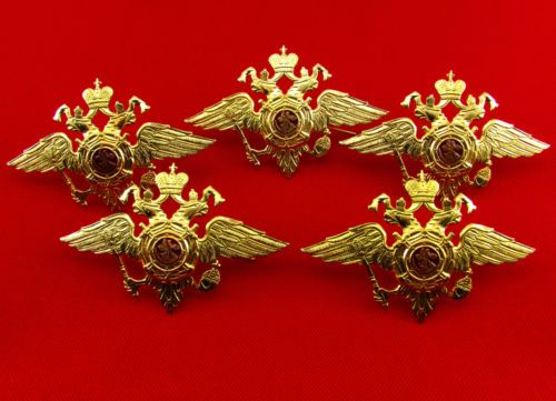 Russian-Army-MVD-Police-Hat-Beret-Badge-Pin-Double-Headed-Eagle-Emblem-5-Pieces