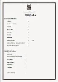 Image result for matrimonial biodata format in word