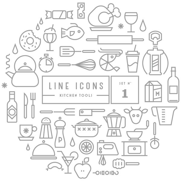 Free Download : Line Icon Sets (outdoor,kitchen) Part 3