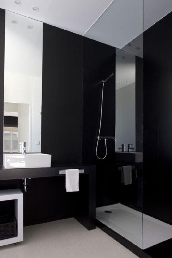Black and White Bathrooms Which Show Their Simplicity: Extraordinary Simple Black Bathroom Design Using Cream Concrete Floor Above Minimalist Bathroom Vanity With White Sink Near Glass Shower Area ~ workdon.com Bathroom Design Inspiration