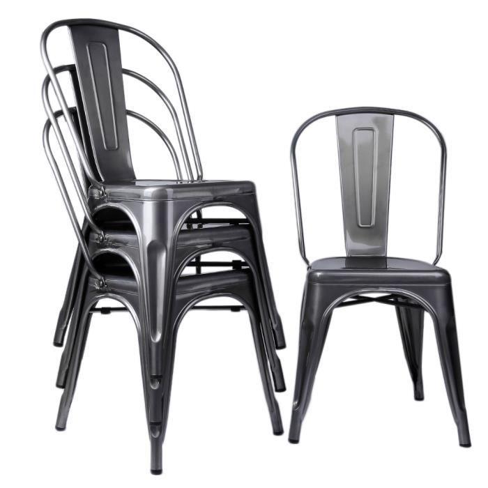 Lot De 4 Chaises De Salle A Manger Style Industriel Noir En Metal Salle A Manger Style Industriel Chaise Salle A Manger Chaise Metal Industriel