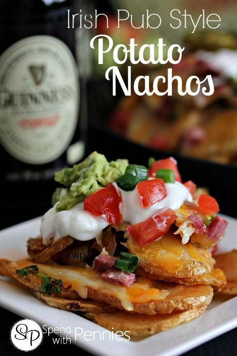 Irish pub style potato nachos delicious potatoes for Bar food yummy