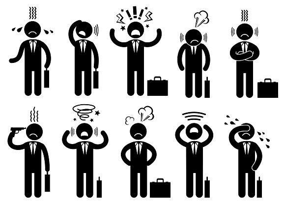 Businessman stress people pictogram. Human Icons. $5.00