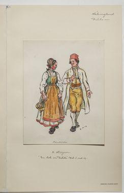 DigitaltMuseum – Aquarellzeichnung von Mann und Frau in Lederkombis. Hälsi …   – Folkwear of Sweden