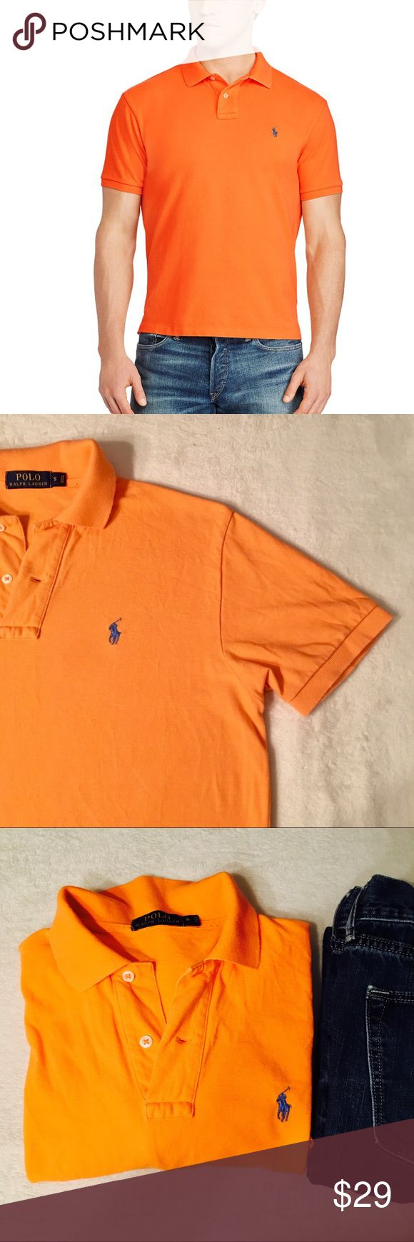 Orange Ralph Lauren Polo Orange Ralph Lauren Men ❤️Gently Used ❤️Ribbed Polo collar. Two-button placket. Short sleeves with ribbed armbands. Tennis tail. Signature embroidered pony at the left chest. 100% cotton. Machine washable. Imported. Polo by Ralph Lauren Shirts Polos