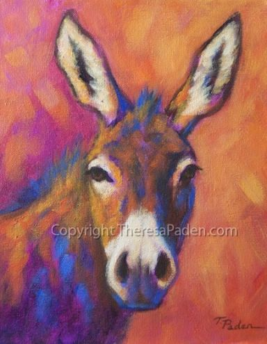 Colorful Impressionistic Donkey Painting by Theresa Paden, painting by artist Theresa Paden