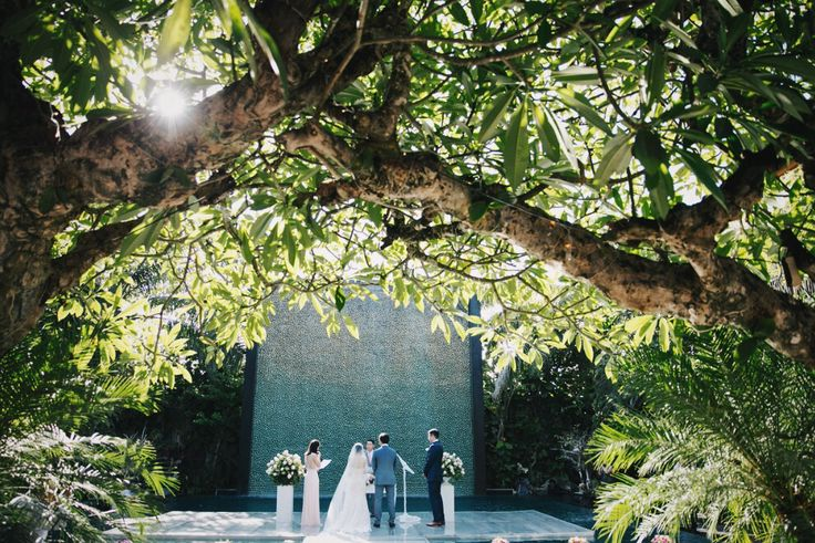 """Welcome #February ! The month full of love to plan beautiful wedding destinations for your once in a lifetime day. This venue right here is underneath the old married frangipani tree, and the additional floating stage upon the water simply adds all the dream and beauty to any weddings.  . Let us come home to say """"I do"""". To plant love where flowers bloom, and where trees never wither  . #Bali #baliwedding #bridal #wedding #weddinginbali #destinationwedding #baliweddingdirectory"""