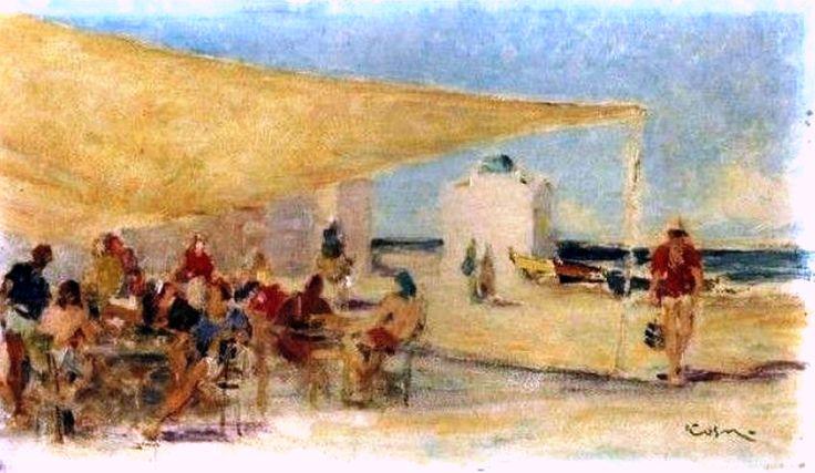 Κοσμαδόπουλος Γιώργος. 1940-Κάτω στο καφενείο του Γιαλού. Η δεύτερη άποψη της Μυκόνου.
