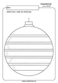Vianočná guľa - grafomotorika - pracovné listy pre deti