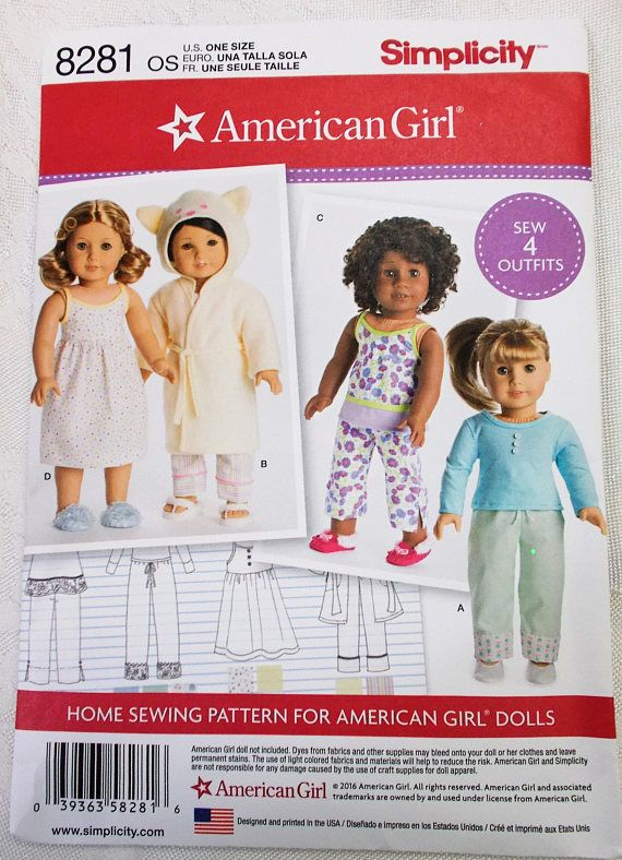 Simplicity 8281 American Girl Doll Clothes Pattern 18 Inch Doll ...