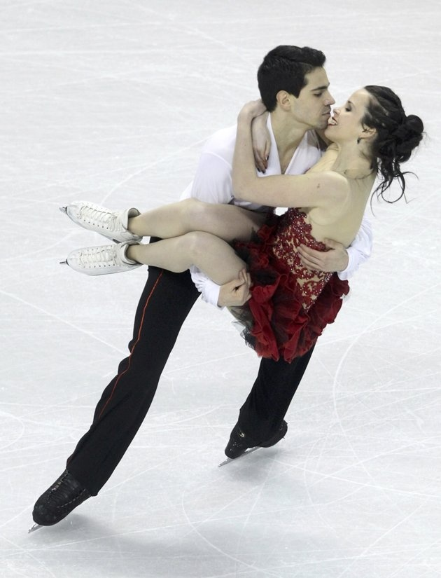Cappellini and Lanotte of Italy perform their ice dance free dance at the ISU World Figure Skating Championships in London, Ontario