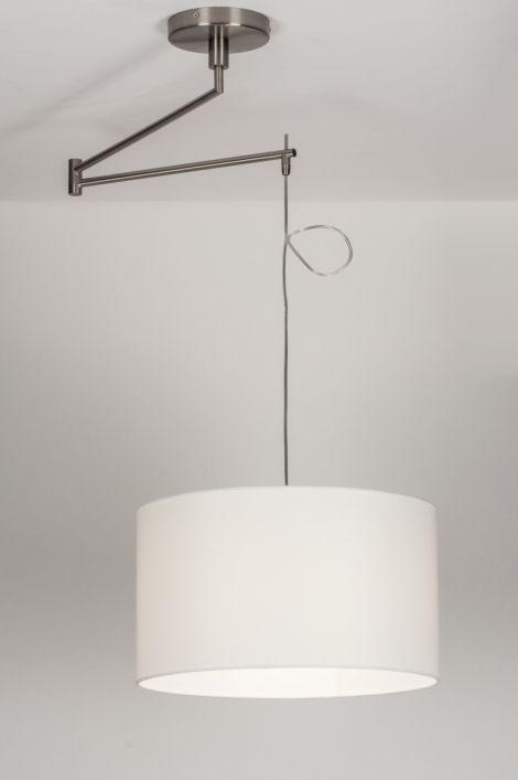 Hanglamp 30669 modern eigentijds klassiek landelijk rustiek wit stof rond