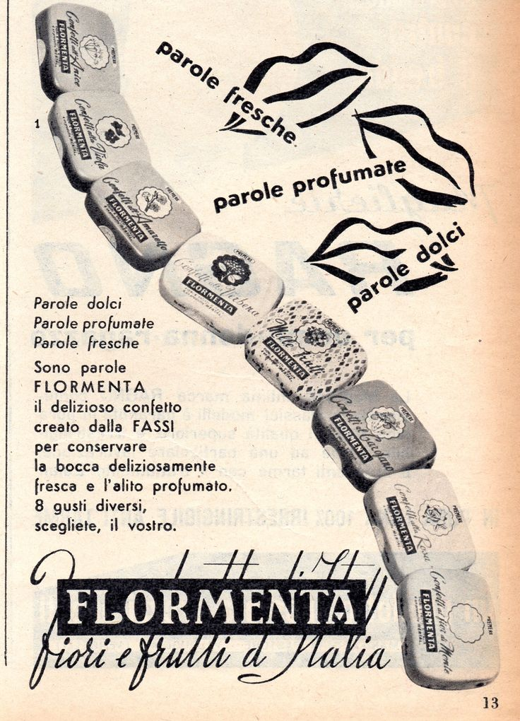 FLORMENTA - Caramelle confetto - cm 11x16 (Grazia 1953)