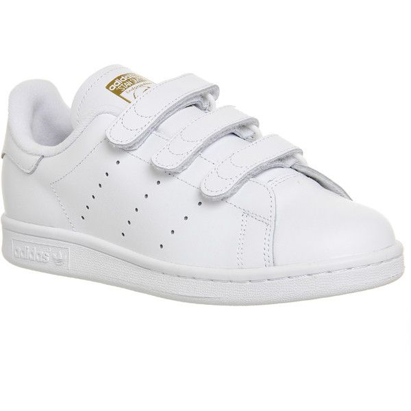 Adidas Stan Smith Cf ($88) ❤ liked on Polyvore featuring shoes, trainers, unisex sports, white white gold metallic, leather upper shoes, white shoes, sports shoes, sports footwear and velcro closure shoes