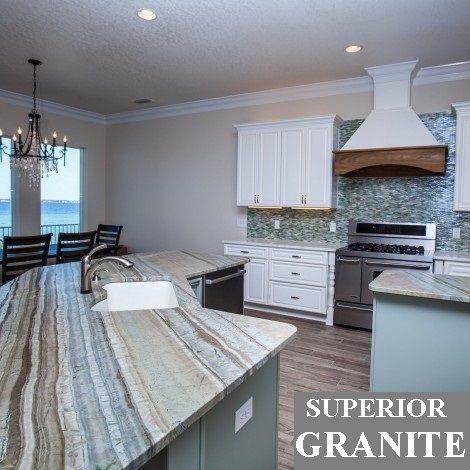 Corteccia Quartzite Kitchen #Corteccia #Quartzite #Kitchen #Countertops  #SuperiorGranite #Constrasting Island