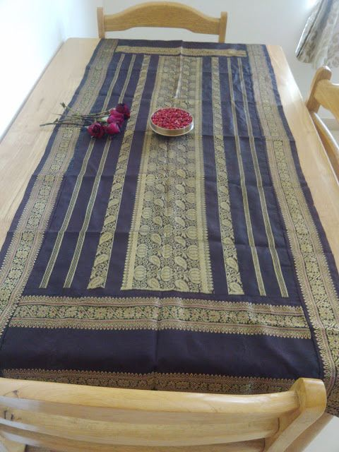 SAJAVAT: Old kancheepuram saree converted into a runner for table