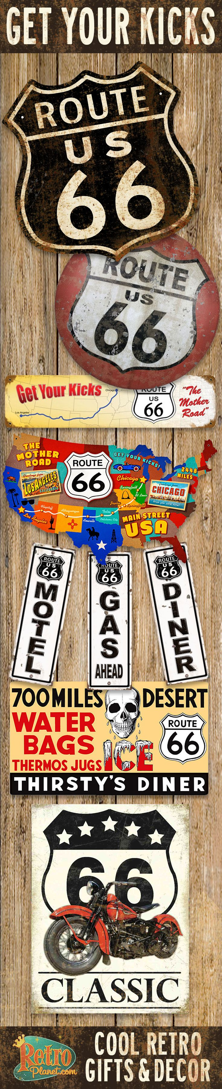 Route 66, America's Highway paves the way for fun decor and gifts. From coffee mugs to wall decals, gifts and decor that are sure to appeal to all Mother Road travelers and collectors.