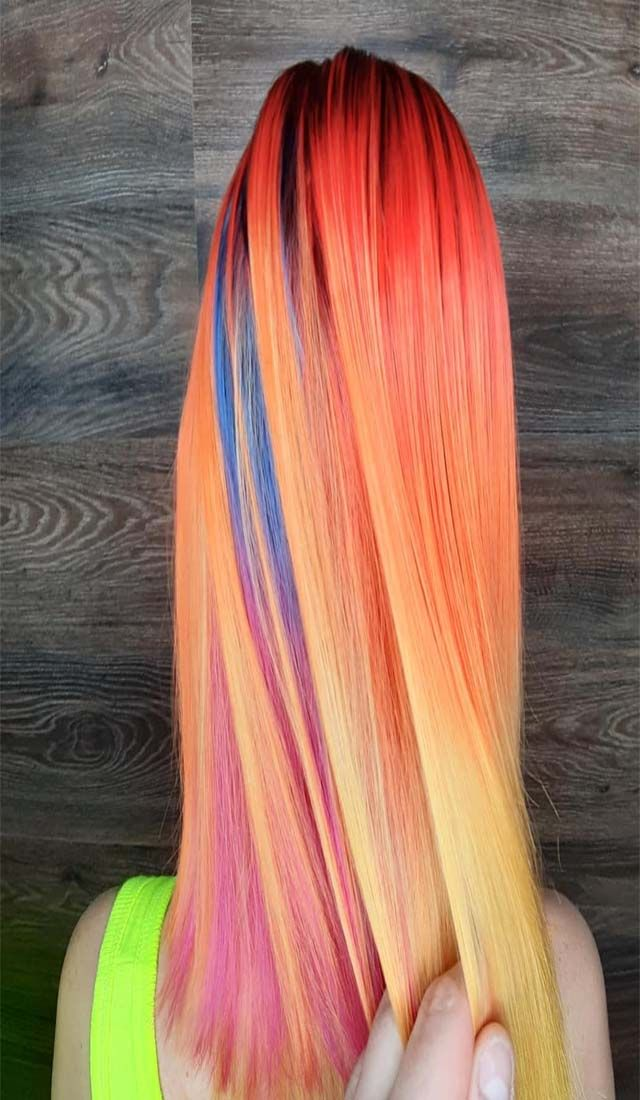 Different Colors Mixed Together Hair Color Long Hair Styles New Hair Colors