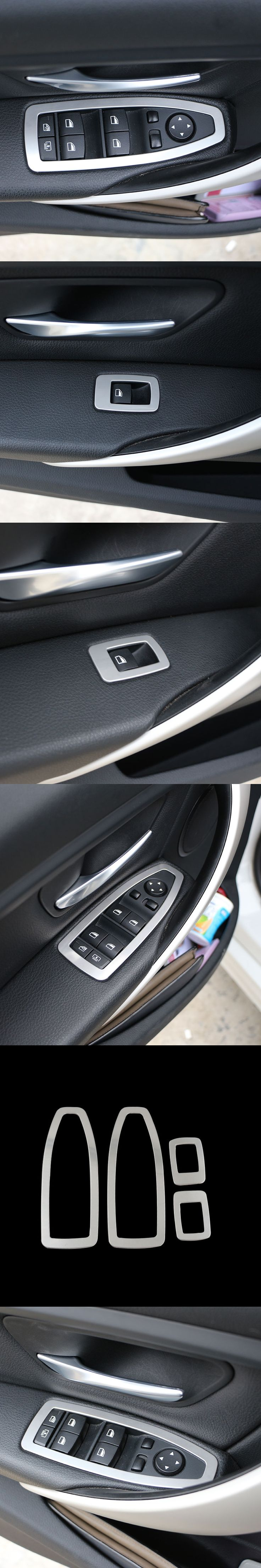 4Pcs/Set Stainless Steel Interior Door Window Switch Cover Molding Trim for BMW F30 F35 320d 320i 328I GT 116I 118I 3 Series