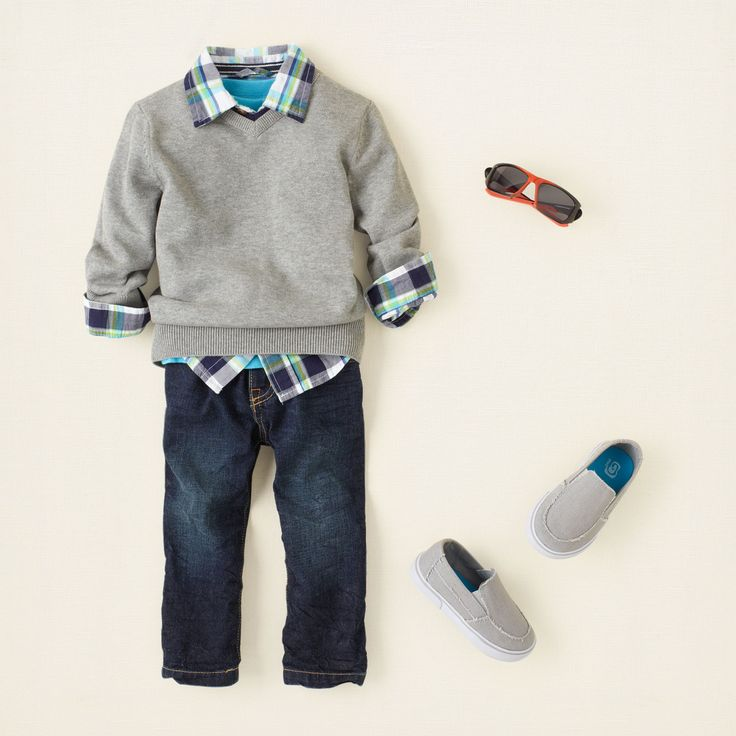 gray day a gray day is a great day for your boy to look super handsome! this stylish look features a neutral sweater layered with some cheery brights. we add dark jeans and matching gray shoes for a fantastic outfit he can wear anytime.