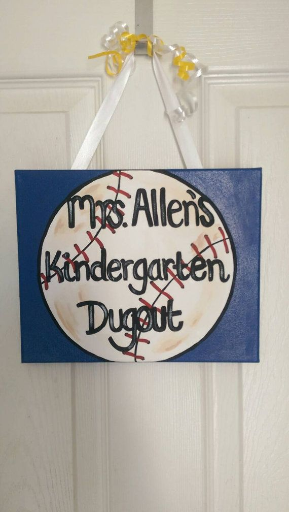 Hand Painted Baseball Theme Classroom Sign by DiamondStateDoodles