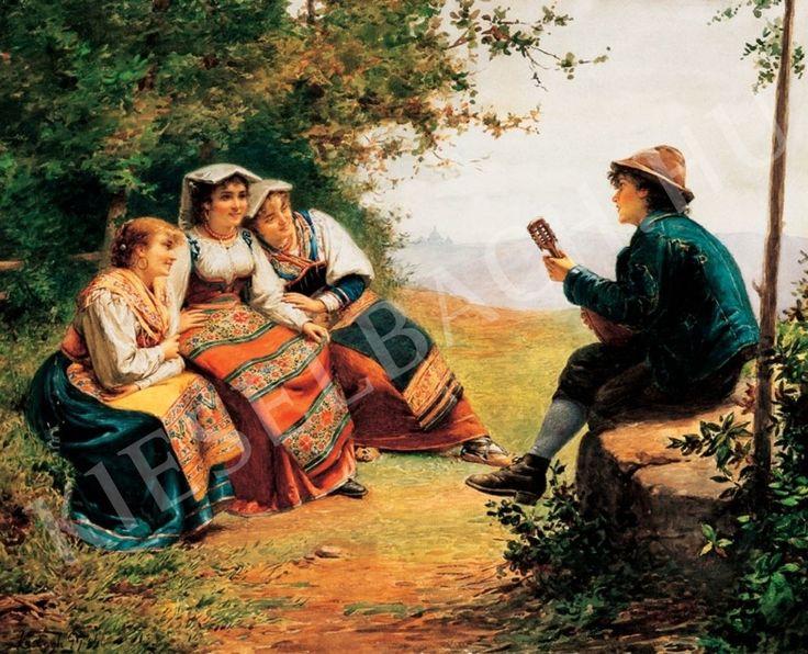 Vastagh György (1834-1922) Olasz lányok (Udvarlás)
