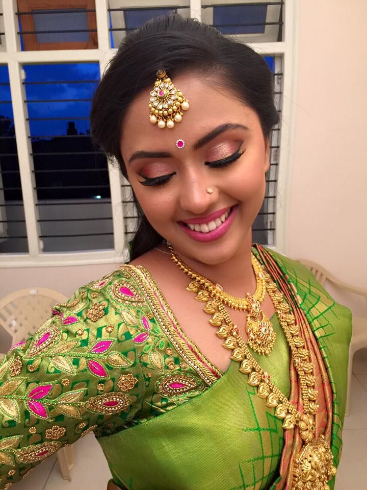 Happy and beautiful Ashu Gowda almost ready for... - Makeup artists Lekha & Meghana Bangalore