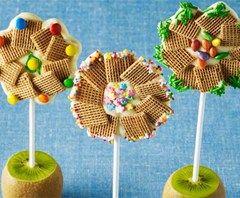 Sucettes fleurs aux céréales Shreddies et au chocolat