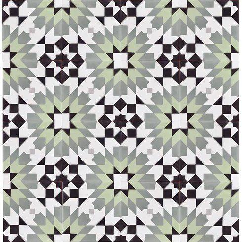 "Casablanca Encaustic 8"" x 8"" Cement Field Tile in Black/Turquoise"