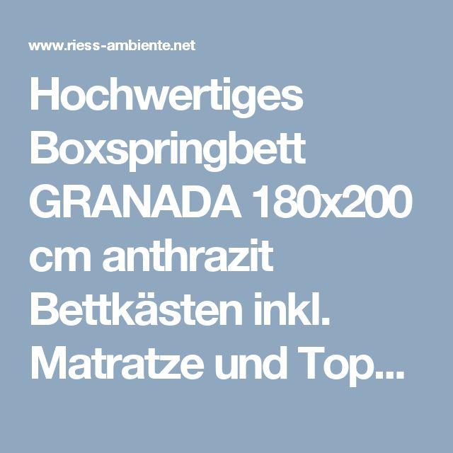 Hochwertiges Boxspringbett GRANADA 180x200 cm anthrazit Bettkästen inkl. Matratze und Topper | Riess-Ambiente.de
