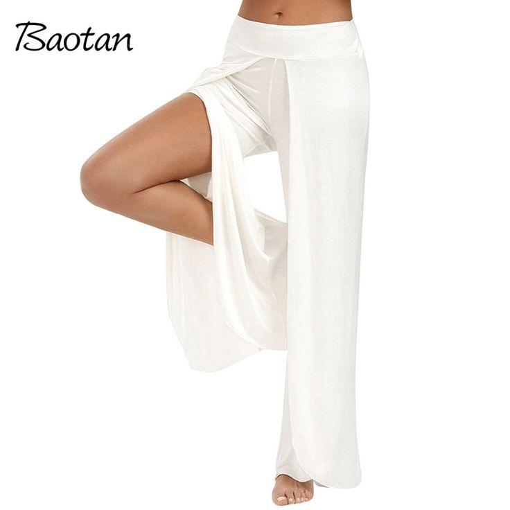 Hot sale pants 2017 women summer fashion chiffon pants loose ankle-length Solid Mid waist trousers White Flat Wide Leg Pants
