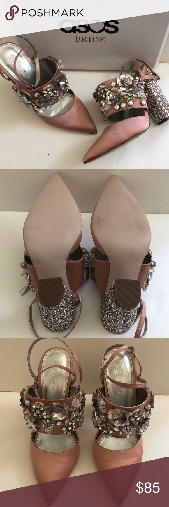 ASOS Bridal shoes - Papaya ASOS bridal shoes, size 8.5 US / 7 UK Papaya - blush satin pointed toe with embellishments  3D flowers and rhinestones  NEW in box never worn High heel and ready for a party ASOS Shoes Heels