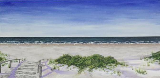 """Saturdays breeze"" acrylic landscape painting by artist: Lisa Brett @woolybutt.designs"
