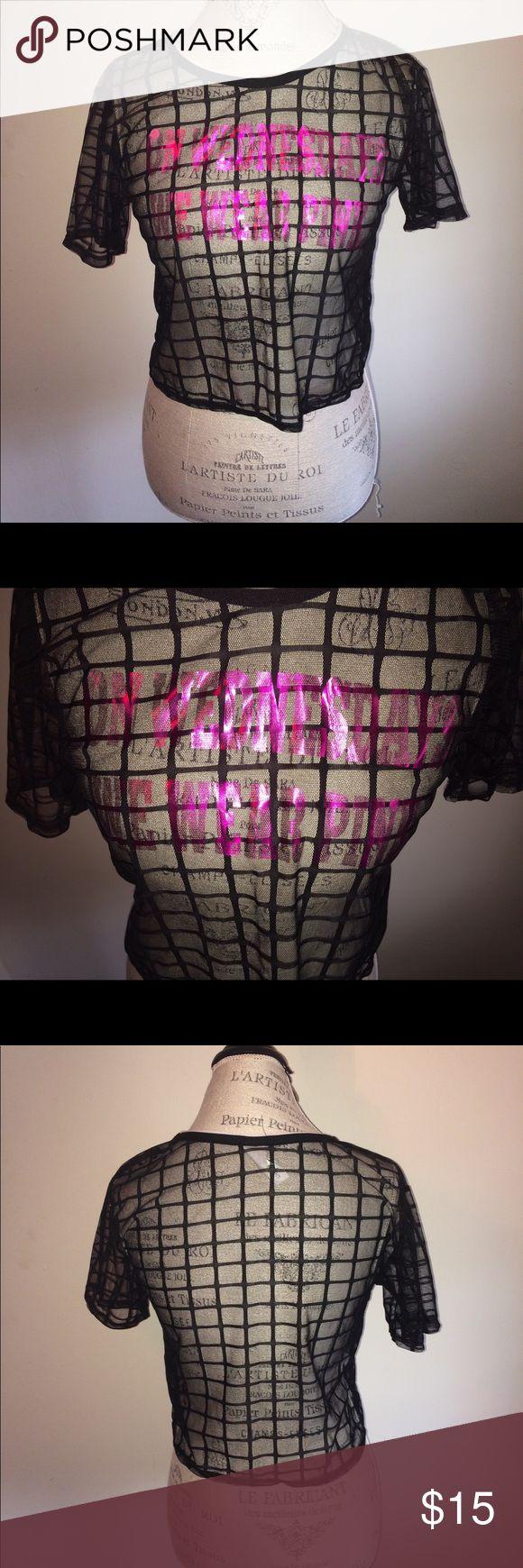 "Black Sheer ""Mean Girls"" Crop Top Black sheer crop top with the words ""On Wednesdays We Wear Pink"" printed on front Tops Crop Tops"