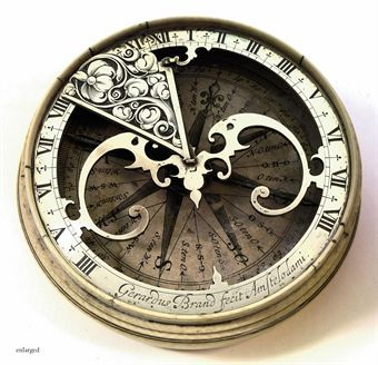 """A DUTCH SILVER COMPASS SUNDIAL IN A TURNED IVORY POCKET CASE GERARDUS BRAND, AMSTERDAM, MID 17TH CENTURY"". 55 000 euros...."