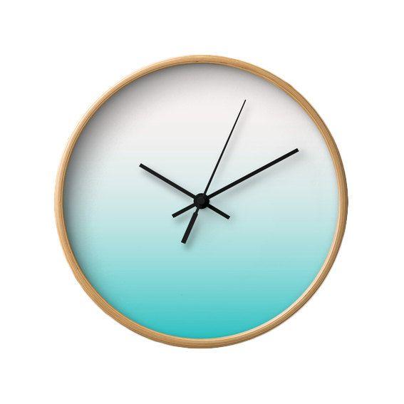 Horloge de mur dégradé bleu sarcelle cadeau de par LatteHome
