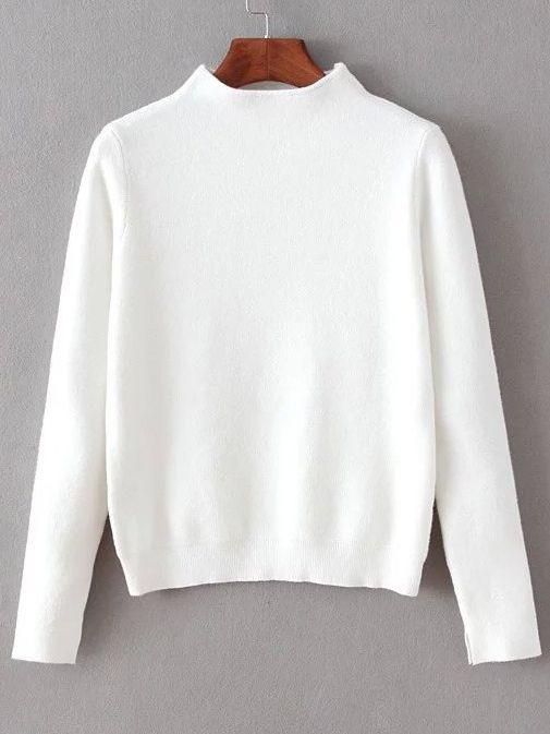 White Mock Neck Split Cuff Crop Knitwear  -SheIn