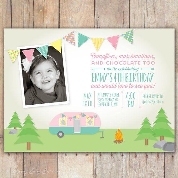 Retro Camping Trailer - Custom Photo Birthday Invitation for any age Girl or Boy