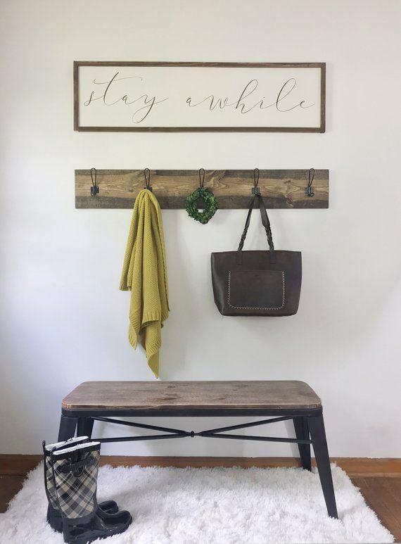 Farmhouse Coat Rack Towel Rack Mud Room Hooks Entryway Decor Cool Farmhouse Coat Rack